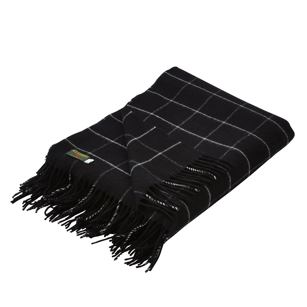 Merino Check Black Throw