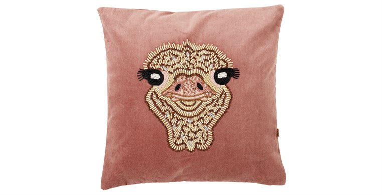 Ostrich Beaded Cushion