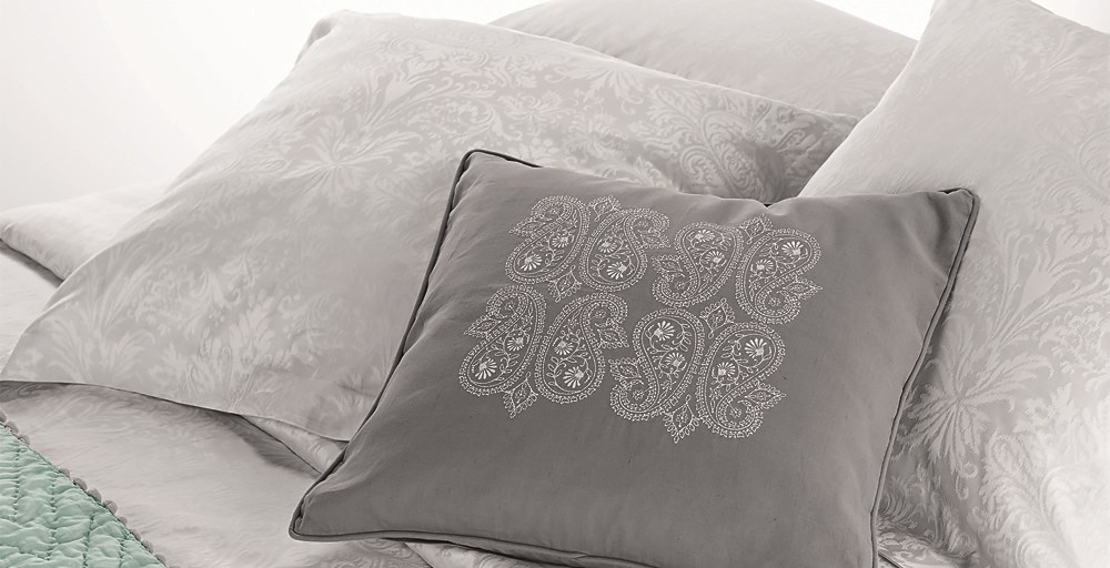 Paisley Embroidered Grey Cushion