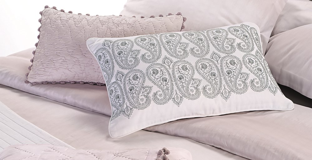 Paisley Embroidered White Cushion