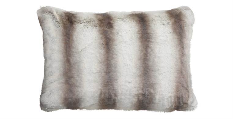 Silver Chinchilla Faux Fur Cushion