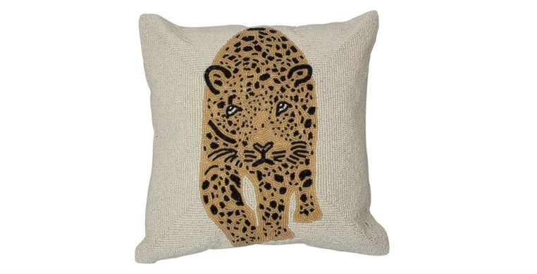 Yala Beaded Leopard Cushion
