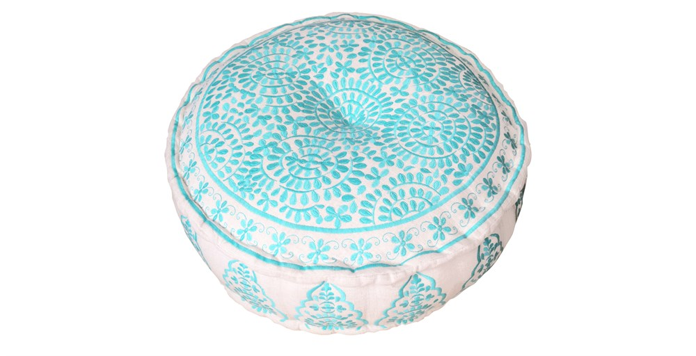 Alora Turquoise Embroidered Pouffe