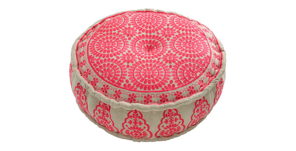 Murcia Coral Embroidered Round Pouffe