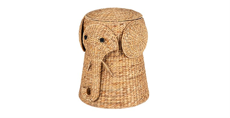 Elephant Water Hyacinth Laundry Bin