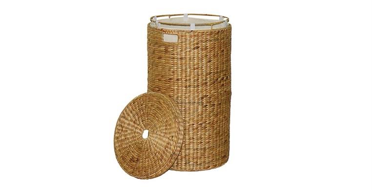 Round Water Hyacinth Laundry Bin