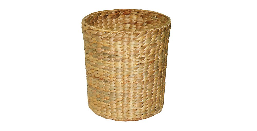 Round Water Hyacinth Wastepaper Bin