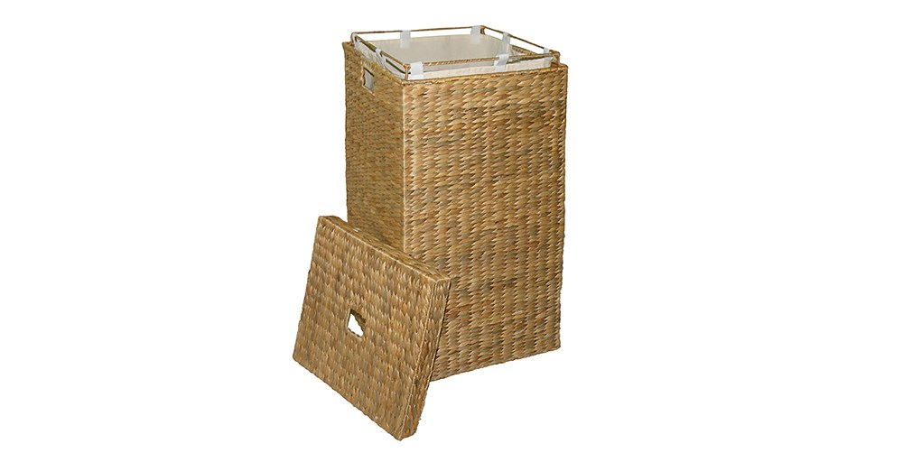 Square Water Hyacinth Laundry Bin