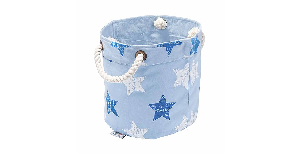 Vintage Star Blue/White Round Storage Box