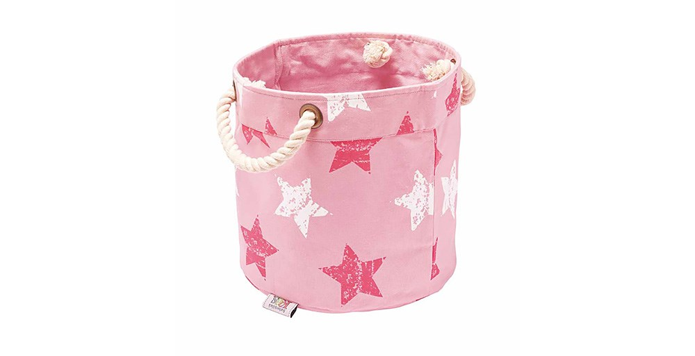 Vintage Star Pink/White Round Storage Box