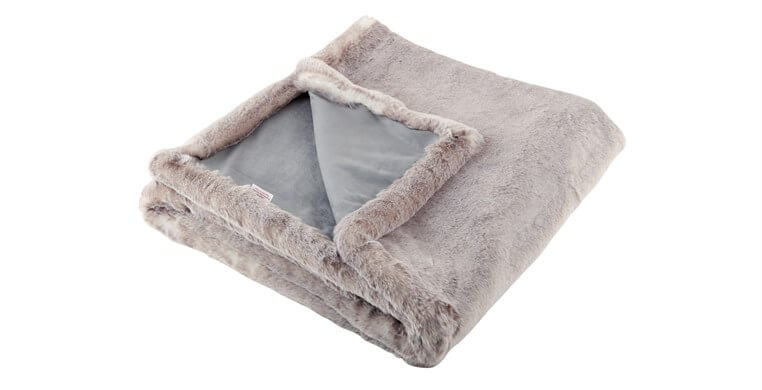 Silver Alaska Faux Fur Throw