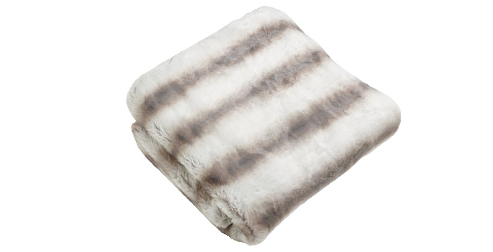 Silver Chinchilla Faux Fur Throw