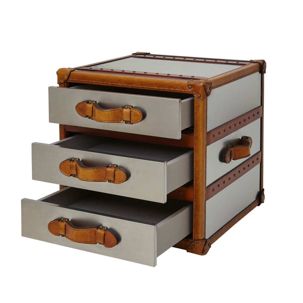 Chicago Bedside Stainless Steel Trunk