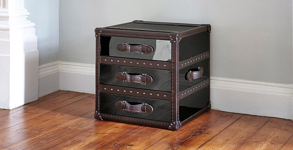 Chicago Bedside Black Stainless Steel Trunk