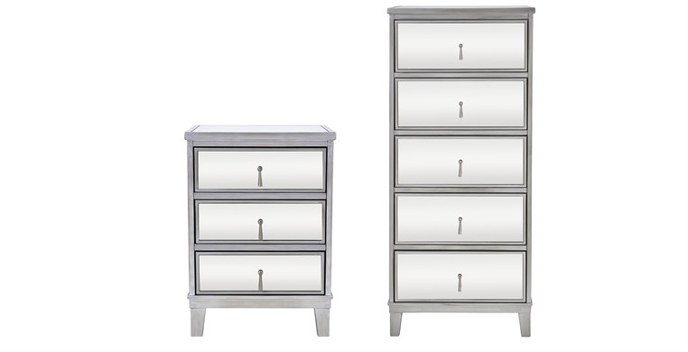 Gatsby Silver Tallboy & Bedside Table