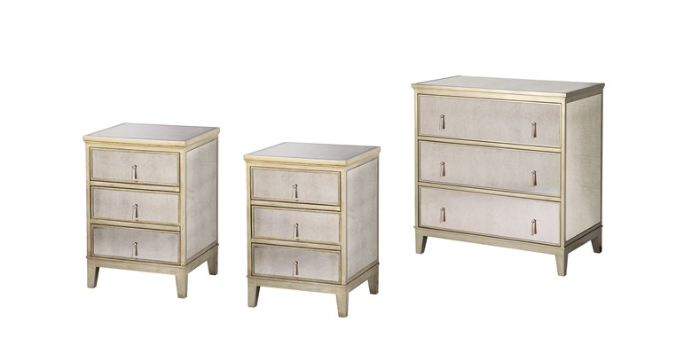 Gatsby Gold 2 Bedside Tables & Chest of Drawers