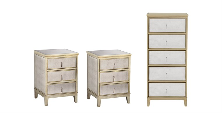 Gatsby Gold Tallboy & 2 Bedside Tables