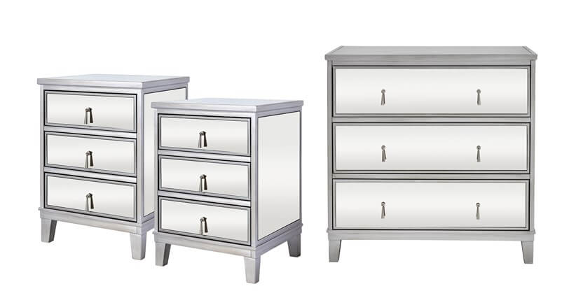Gatsby Silver 2 Bedside Tables & Chest of Drawers