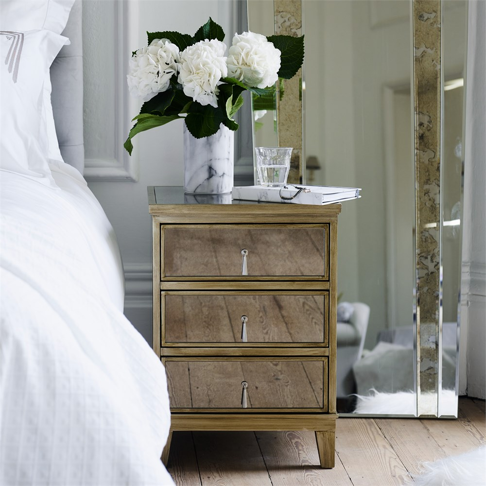 Gatsby Mirrored Gold 3 Drawer Bedside
