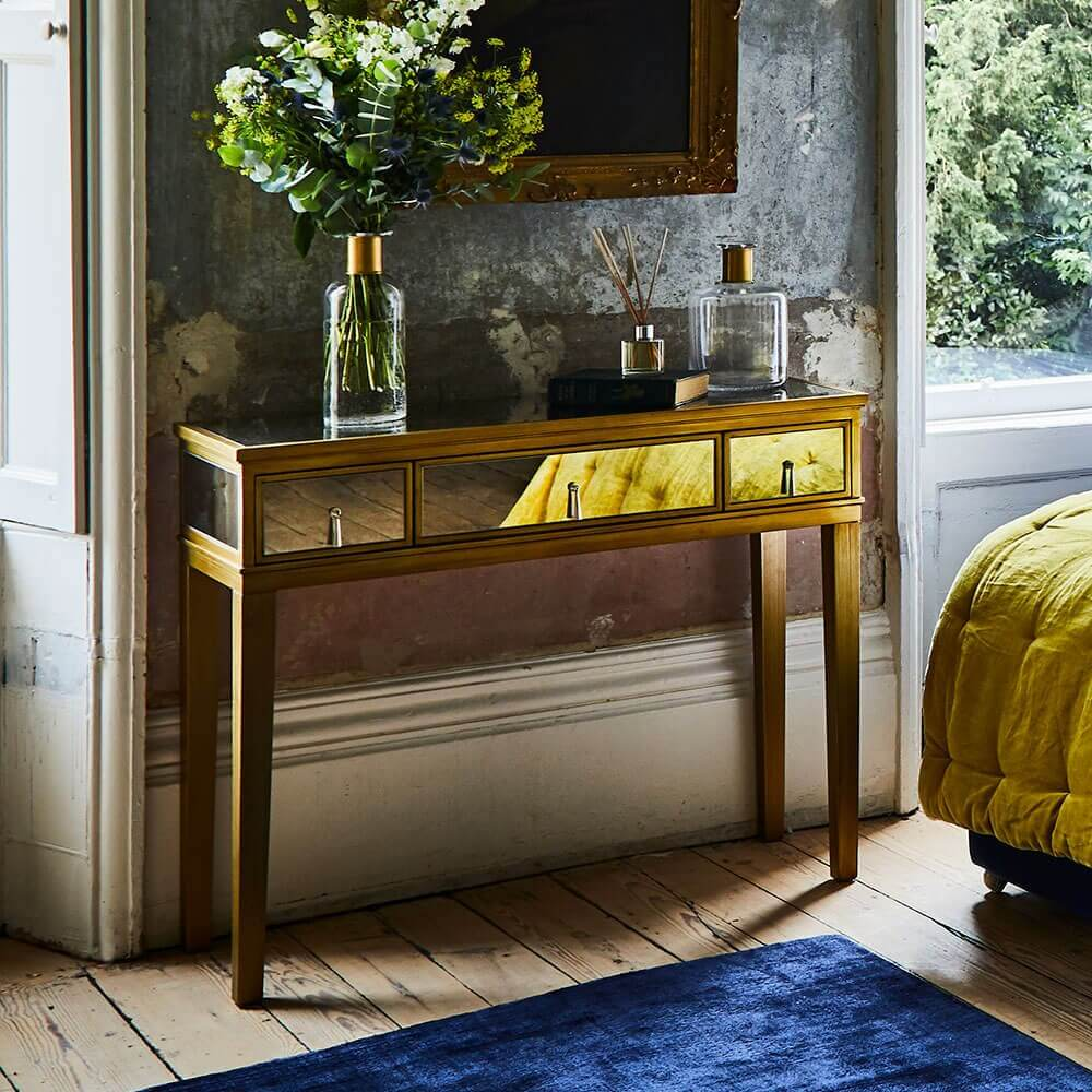 Gatsby Mirrored Gold Console Table