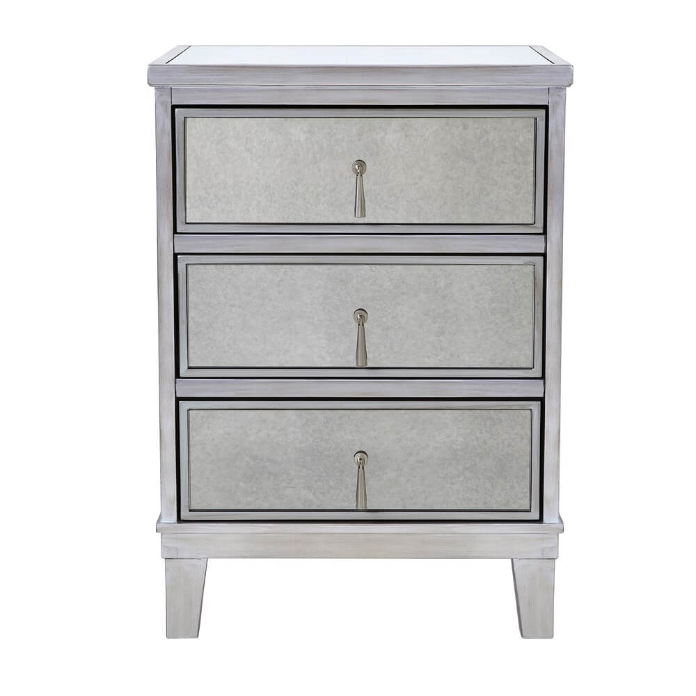 Gatsby Mirrored Silver 3 Drawer Bedside