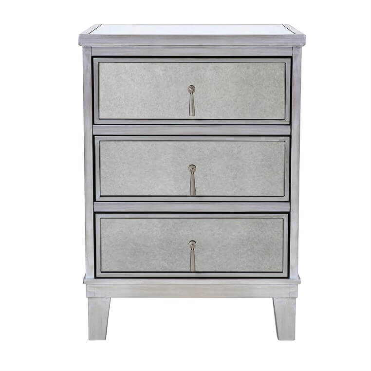 Gatsby Silver 3 Drawer Bedside