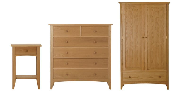 Marblehead Natural 1 Drawer Bedside Table, Chest & Wardrobe