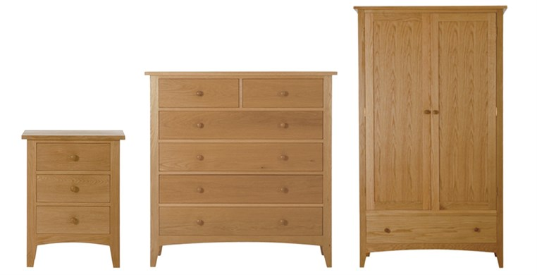Marblehead Natural 3 Drawer Bedside Table, Chest & Wardrobe