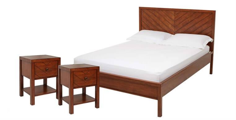 Maya Parquet Super King Bed & 2 Bedside Tables