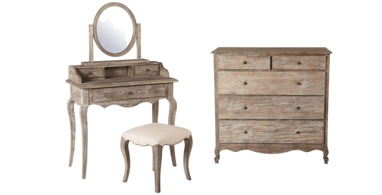 Sienna Chest, Dressing Table, Stool & Mirror