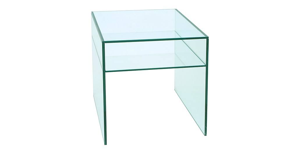 Square Glass Bedside Table
